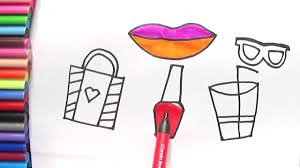learn how to draw lips bag glass coloring page fun for kids