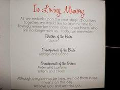 in memory of wedding program how to honor lost loved ones at your wedding reception wedding