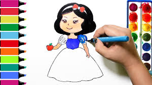 draw color paint cute snow white coloring pages and learn colors