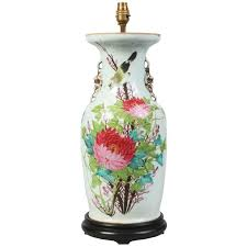 Vase Table Lamp Antique Early 20th Century Chinese Republic Period Porcelain Vase