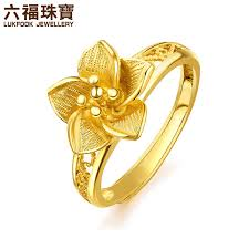 wedding rings flower images Luk fook jewelry gold flower flower shadow wedding gold ring jpg