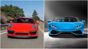 platinum lamborghini are the lamborghini huracan spyder and the porsche 911 turbo s