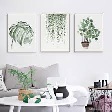 Livingroom Wall Art 2017 Nordic Minimalist Watercolor Green Plant Leaf Posters Living