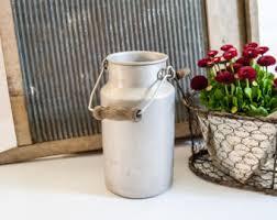 Metal Jug Vase Rustic Flower Vase Etsy
