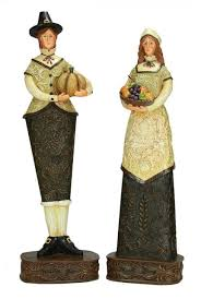 thanksgiving figures set of 2 harvest collection thanksgiving pilgrim figures 12