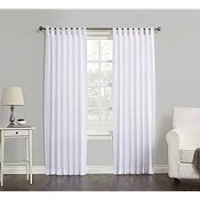 White Tab Top Curtains Solid Window Curtain Panel 38 X 84 White One Panel