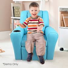 kids padded pu leather recliner chair blue 9cm thick foam padding