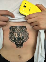 black gray tiger belly tattoo shanghaitattoo