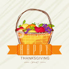 happy thanksgiving day greeting card with creative wooden basket