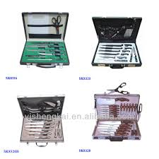 stainless steel 12pcs kitchen knife solingen in leather suitcase