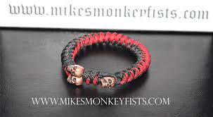 red beads bracelet images Custom red black paracord bracelet with metal skull beads gif