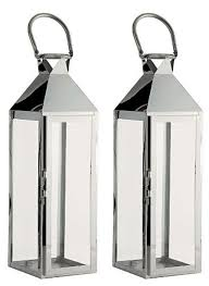 2 x stylish stainless steel u0026 glass hampton candle lanterns for