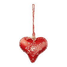 red home accessories decor amara heart bell christmas tree decoration red white