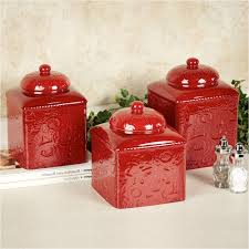red kitchen canisters ceramic beautiful red accessories for the kitchen