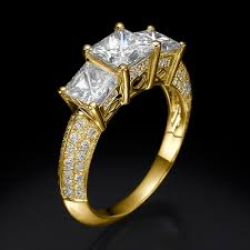 2 carat gold engagement ring three engagement ring deluxe trilogy princess 1