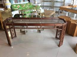 Rattan Console Table Brown Rattan Console Table Faux Bamboo Regency
