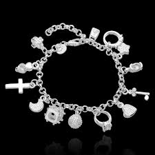 silver plated charm bracelet images Heart locket charm bracelet silver plated woman wrist for sale jpg