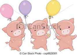 pig balloons pig balloons illustration of pigs holding balloons vector clip