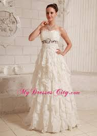western dresses for weddings lace and chiffon ruffled a line wedding dress with brush