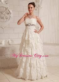 western wedding dresses lace and chiffon ruffled a line wedding dress with brush