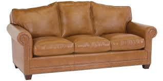 leather camel back sofa with nailhead trim club furniture