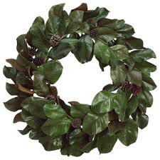 Magnolia Leaf Wreath Silk Plants Direct Magnolia Leaf And Pine Cone Wreath Pack Of 1