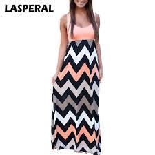 LASPERAL 2017 Women Summer Beach Dress fashion Striped Print Long
