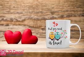 only you need is love printed coffee mug office gift u2013 jr decal