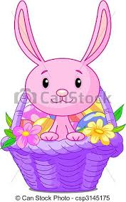 easter basket bunny beautiful easter basket with bunny and eggs clipart vector