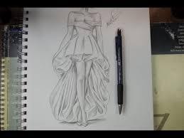 تعليم الرسم بالرصاص طريقة تصميم فستان مع الخطوات تعلم الرسم