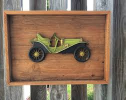 Antique Wood Wall Decor Classic Car Decor Etsy