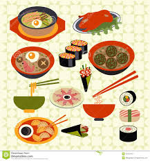 food japanese dishes illustration stock vector
