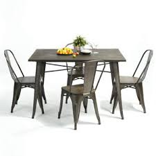 Tolix Dining Table Tolix Rustic Metal Wooden Dining Table Chairs Classic Inspired