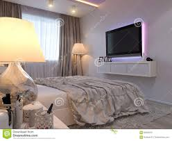 3d rendering bedroom interior design in a modern style stock
