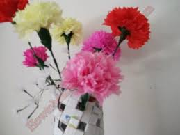 Making Of Flowers With Paper - 3d origami round vase with paper carnation how to make paper flowers