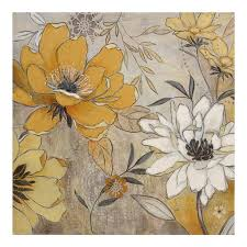 Home Decor Canvas Art Vintage Yellow U0026 Gray Floral Canvas Art Print Vintage Yellow And