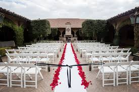 White Aisle Runner Outdoor Ceremony In Piazza Toscana Courtyard With White Aisle