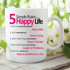5 simple rules happy life quote mugs printed ceramic cups work