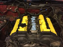 new valve cover seals painted covers with yellow engine paint