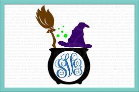 witch monogram svg halloween monogram svg witch svg broom svg