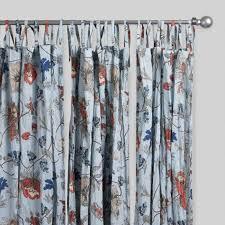Blue Floral Curtains Blue Floral Crinkle Voile Curtains Set Of 2 World Market