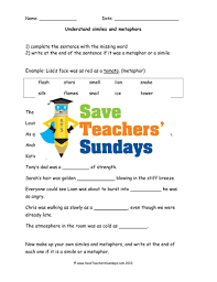 similes and metaphors lesson plan and worksheets by