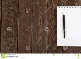 Wooden Table Top View Paper And Pen On Wood Table Top View Stock Photo Image 78802907