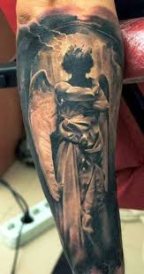 goddess in black texture on arm religious
