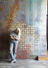 mixing and layering stencil patterns with celeste korthase wall