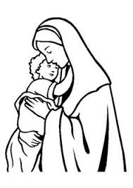 mary coloring page with the hail mary prayer printed below color