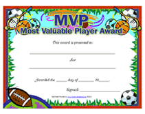 free printable mvp most valuable player awards certificates templates