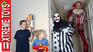 master blaster halloween costume killer clown attack ethan and cole nerf battle vs a crazy freaky