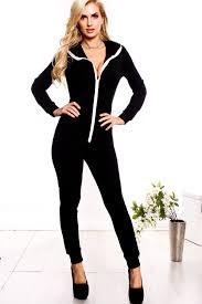 zipper jumpsuit black front zipper pockets hoodie jumpsuit jumpsuits and