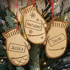 engraved ornaments family winter mittens